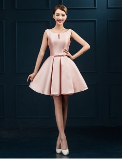 New Zealand Cocktail Party Dress Ball Gown Scoop Short Mini Satin With Sash Ribbon