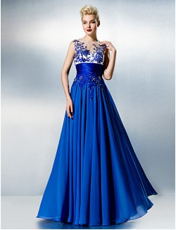 New Zealand Formal Evening Dress See Through Plus Size Petite A Line Jewel Long Floor Length Chiffon Lace With Beading