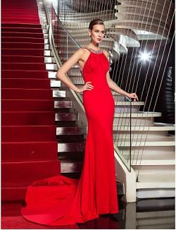 New Zealand Formal Evening Dress Beautiful Back Plus Size Petite Sheath Column Halter Sweep Brush Train Jersey With Crystal Detailing