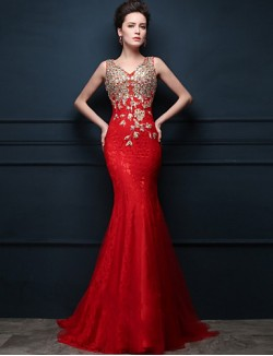 New Zealand Formal Evening Dress Trumpet Mermaid V Neck Sweep Brush Train Tulle With Appliques Crystal Detailing