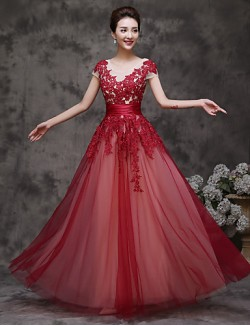 New Zealand Formal Evening Dress A Line Scoop Long Floor Length Tulle Dress With Ruffles