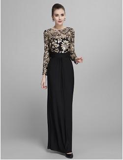 Prom Gowns New Zealand Formal Evening Dress Military Ball Dress Elegant Vintage Inspired Floral Sparkle Shine Sheath Column Jewel Long Floor Length