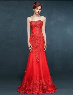 New Zealand Formal Evening Dress Trumpet Mermaid Sweetheart Long Floor Length Tulle Dress With Appliques Crystal Detailing Lace