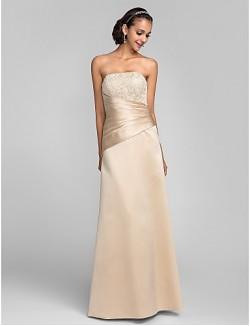 New Zealand Formal Evening Dress Open Back Plus Size Petite Sheath Column Strapless Long Floor Length Lace Dress Satin With Beading