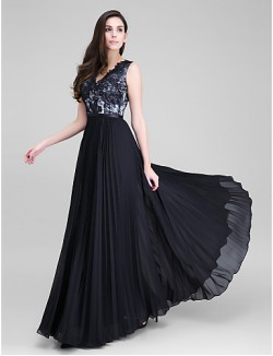 New Zealand Formal Evening Dress A Line V Neck Long Floor Length Chiffon Lace With Lace Sash Ribbon