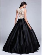 2017 Prom Dress Ball Gown Jewel Long Floor Length Lace Dress Stretch Satin With Appliques Beading