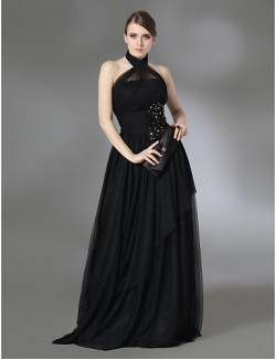 Prom Gowns New Zealand Formal Evening Dress Military Ball Dress Vintage Inspired Plus Size Petite A Line Princess Halter High Neck Long Floor LengthTulle