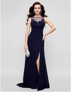 New Zealand Formal Evening Dress Beautiful Back Plus Size Petite Sheath Column Jewel Long Floor Length Chiffon Tulle With Appliques Beading