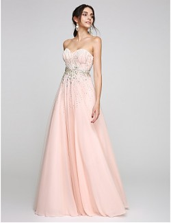 New Zealand Formal Evening Dress A Line Sweetheart Long Floor Length Tulle Dress With Beading Crystal Detailing
