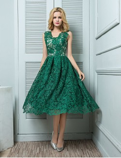 Prom Gowns New Zealand Cocktail Party Dress Ball Gown V Neck Short Knee Length Lace With Lace