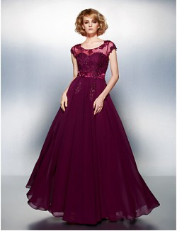 New Zealand Formal Evening Dress Plus Size Petite A Line Scoop Long Floor Length Chiffon With Appliques Beading Buttons