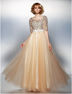 New Zealand Formal Evening Dress Plus Size Petite A Line Scoop Long Floor Length Tulle Dress Sequined With Beading Bow