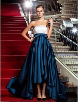 New Zealand Formal Evening Dress Military Ball Black Tie Gala Dress Open Back Plus Size Petite A Line Princess Strapless Asymmetrical Satin