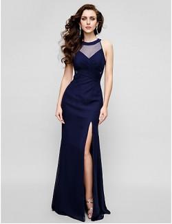 New Zealand Formal Evening Dress Black Tie Gala Dress Beautiful Back Plus Size Petite Sheath Column Jewel Long Floor Length Chiffon With