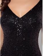Black Tie Gala Dress Plus Size Petite Trumpet Mermaid V Neck Long Floor Length Sequined With Sequins