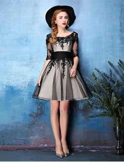 New Zealand Cocktail Party Dress A Line Scoop Short Knee Length Lace Tulle With Lace Ruching