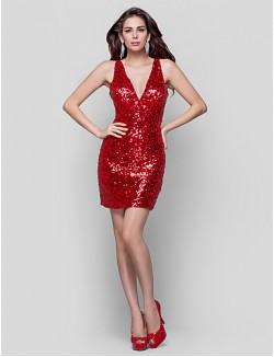 New Zealand Cocktail Party Dresses Holiday Dress Plus Size Petite Sheath Column V Neck Short Mini Sequined With