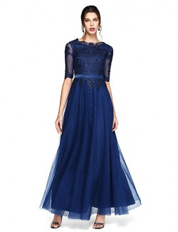 New Zealand Formal Evening Dress A Line Scoop Long Floor Length Chiffon With Appliques