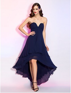 New Zealand Cocktail Party Dresses Homecoming Holiday Dress Open Back Plus Size Petite A Line V Neck Asymmetrical Georgette With Side Draping