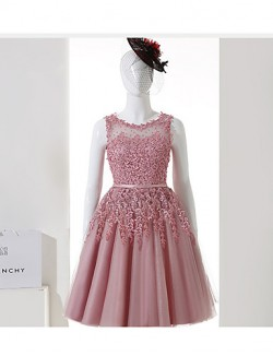 New Zealand Cocktail Party Dress A Line Jewel Short Knee Length Tulle With Appliques Sash Ribbon