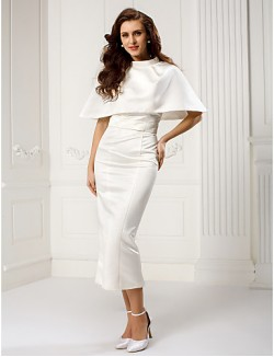 New Zealand Formal Evening Dress Sheath Column Sweetheart Ankle Length Satin With