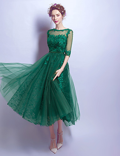 New Zealand Cocktail Party Dresses Prom Dress A Line Jewel Tea Length Lace With Appliques Beading