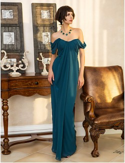 New Zealand Formal Evening Dress Military Ball Dress Open Back Plus Size Petite Sheath Column Sweetheart Long Floor Length Georgette With Side Draping