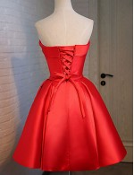 New Zealand Cocktail Party Dress Ball Gown Strapless Short Knee Length Satin Stretch Satin With Sash Ribbon Bandage
