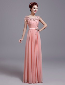 New Zealand Formal Evening Dress Sheath Column Jewel Long Floor Length Lace Dress With Bow Lace