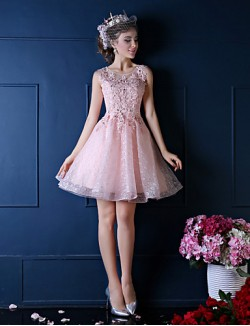 New Zealand Cocktail Party Dress Ball Gown Notched Short Knee Length Lace WithBeading Crystal Detailing Flower Lace Pearl Detailing Ruffles