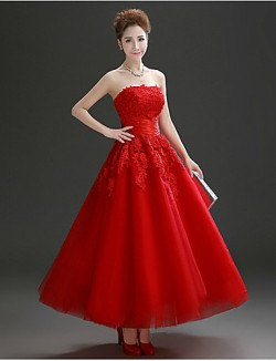 New Zealand Formal Evening Dress A Line Strapless Ankle Length Tulle With Crystal Detailing Lace
