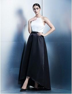 New Zealand Formal Evening Dress A Line Jewel Asymmetrical Satin With