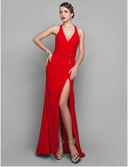New Zealand Formal Evening Dress Military Ball Dress Open Back Plus Size Petite Sheath Column V Neck Court Train Georgette With Side Draping