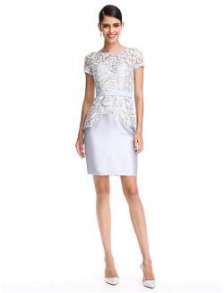 New Zealand Cocktail Party Dress Sheath Column Bateau Short Knee Length Lace Satin With Lace Sash Ribbon