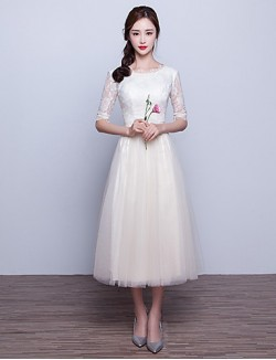 New Zealand Formal Evening Dress A Line Scoop Tea Length Lace Tulle With Bow