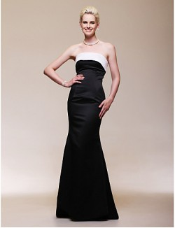 New Zealand Formal Evening Dress Open Back Plus Size Petite Trumpet Mermaid Strapless Long Floor Length Satin With