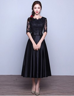 New Zealand Cocktail Party Dresses Prom Dress A Line Jewel Tea Length Lace Satin With Sash Ribbon
