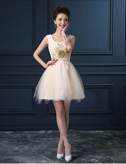 New Zealand Cocktail Party Dress Ball Gown Scoop Short Mini Lace Satin With Pattern Print