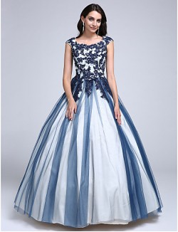 Prom Dress Ball Gown Scoop Long Floor Length Lace Dress Tulle With Appliques Beading