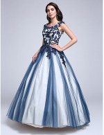 2017 Prom Dress Ball Gown Scoop Long Floor Length Lace Dress Tulle With Appliques Beading