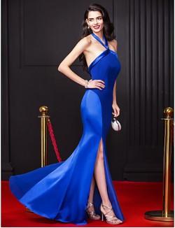 New Zealand Formal Evening Dress Sheath Column Halter Long Floor Length Chiffon Stretch Satin With