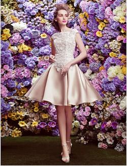 New Zealand Cocktail Party Dress Plus Size Petite A Line Bateau Short Knee Length Lace Satin With Buttons Lace Pockets