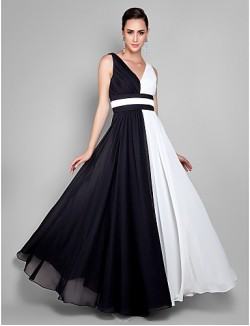 Prom Gowns New Zealand Formal Evening Dress Military Ball Dress Elegant Plus Size Petite Sheath Column V Neck Ankle Length Chiffon WithDraping Side