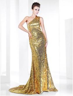 New Zealand Formal Evening Dress Sparkle Shine Elegant Plus Size Petite Trumpet Mermaid Sexy One Shoulder Sweep Brush Train Sequined