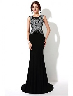 New Zealand Formal Evening Dress Trumpet Mermaid Scoop Sweep Brush Train Satin With Crystal Detailing