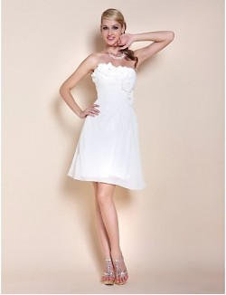 New Zealand Cocktail Party Dresses Graduation Dress Short Plus Size Petite A Line Princess Strapless Sweetheart Short Knee Length Chiffon With Beading