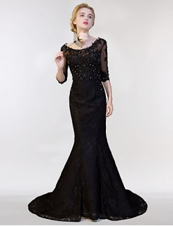 New Zealand Formal Evening Dress Trumpet Mermaid Scoop Sweep Brush Train Lace Tulle With Lace Sequins