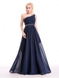 New Zealand Cocktail Party Dresses New Zealand Formal Evening Dress Ball Gown Sexy One Shoulder Long Floor Length Chiffon WithBeading Crystal Detailing Draping Side