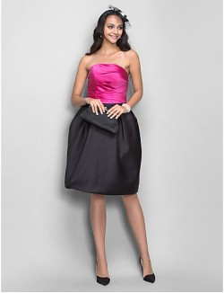 New Zealand Cocktail Dress Short Plus Size Petite A Line Princess Strapless Short Knee Length Satin With Draping Side Draping