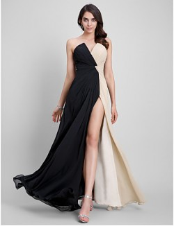 New Zealand Formal Evening Dress Sheath Column Strapless Long Floor Length Chiffon With Criss Cross
